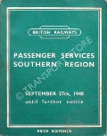 Passenger Train Services - Southern Region - September 27th, 1948 until further notice by British Railways