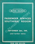 Passenger Train Services - Southern Region - September 26th, 1949 until further notice by British Railways