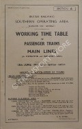 Working Time Table of Passenger Trains - Section A - London East District - Main Lines (via Orpington and Maidstone East), 13th June 1955, until further notice by British Railways Southern Operating Area