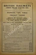 Working Time Table of Freight Trains - Section 13 - Liverpool & Manchester (Central), Wrexham (Central), Seacombe, Northwich & Godley Junction & Branches 30th June to 14th September 1952 by British Railways London Midland Operating Area (Western Division)
