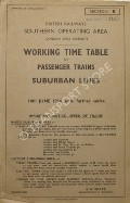 Working Time Table of Passenger Trains - Section B - London West District - Suburban Lines 14th June 1954, until further notice by British Railways Southern Operating Area