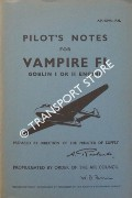 Pilot's Notes for Vampire FI - Goblin I or II Engine by Air Ministry