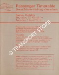 Passenger Timetable, Great Britain Holiday Alterations - Easter Holiday, Thursday 27 March to Tuesday, 1 April 1975 by British Railways