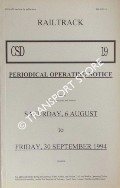 Periodical Operating Notice containing General Instructions and Notices, 6 August to 30 September 1994 by Railtrack