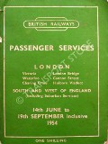 Passenger Train Services - London, South and West of England - 14th June to 19th September inclusive 1954 by British Railways Southern Region